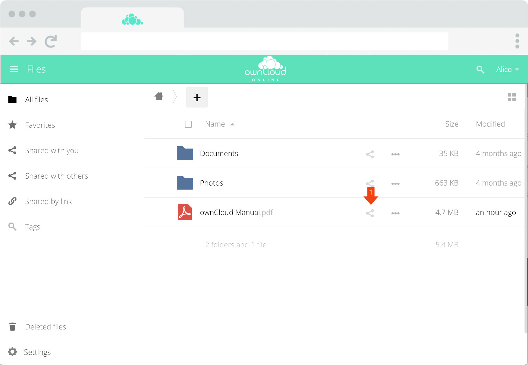 ownCloud.online - Sharing files step 1