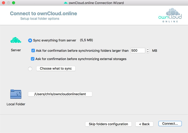 Install ownCloud.online desktop client step 4