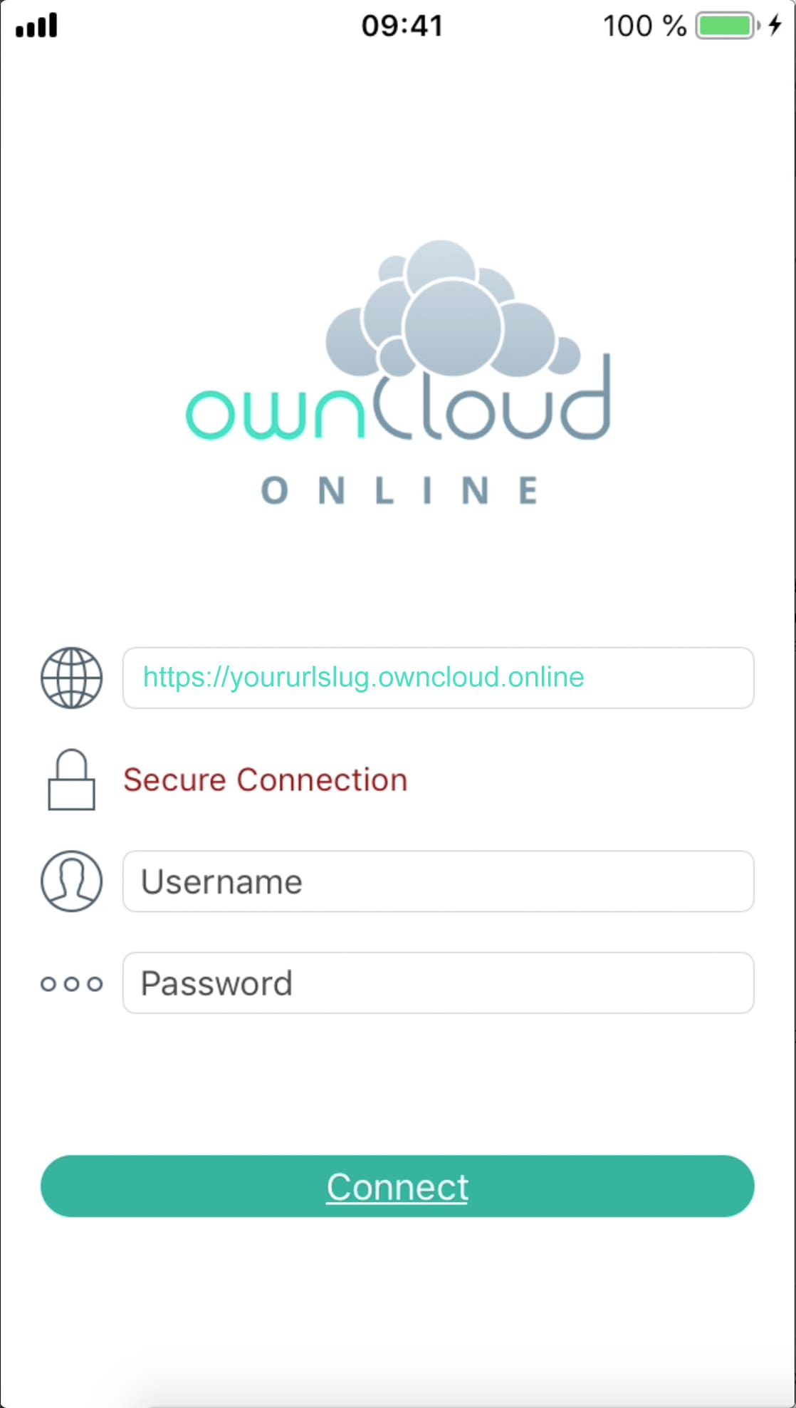 ownCloud.online iOS Setup Step 1